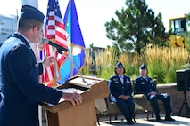 Col. John Wagner, 460th Space Wing commander, speaks August 1, 2016, during the 460th Mission Support Group change of command on Buckley Air Force Base, Colo. Over the last two years, Col. Rose Jourdan worked to improve Buckley AFB in many ways, including improving the dorms, Commissary and The Exchange. (U.S. Air Force photo by Airman 1st Class Gabrielle Spradling/Released)