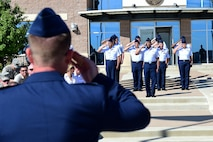 Col. Shawn Thompson, 460th Mission Support Group commander, receives his first salute from MSG members August 1, 2016, during a change of command on Buckley Air Force Base, Colo. A change of command ceremony represents the formal transfer of responsibility from an outgoing commander to their successor. (U.S. Air Force photo by Airman 1st Class Gabrielle Spradling/Released)