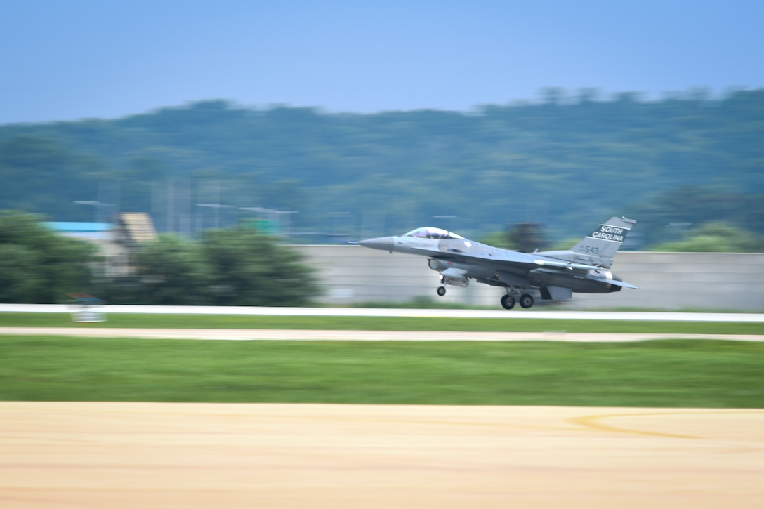An F-16 Fighting Falcon from the South Carolina Air National Guard's 157th Expeditionary Fighter Squadron takes off from the flightline July 27, 2016, at Osan Air Base, Republic of Korea. Approximately 300 Airmen and 12 F-16s from the 169th Fighter Wing deployed to Osan in support of the U.S. Pacific Command Theater Security Package. (U.S. Air Force photo by Senior Airman Dillian Bamman/Released)