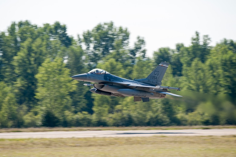 An F-16 Fighting Falcon aircraft performs a low-altitude fly-by maneuver at Papa Air Base, Hungary. The F-16 is from the 120th Fighter Squadron, which is based out of Buckley Air Force Base, Colorado and is part of the 140th Wing, which is here to train with our NATO allies in Hungary, and partner nations around the region in the biggest air operation since the Balkans with eight states and five countries involved in the Panther Strike exercise in conjunction with Operation Atlantic Resolve. This deployment continues to demonstrate our commitment to our allies and European security and stability. (U.S. Air National Guard photo by Senior Master Sgt. John Rohrer)