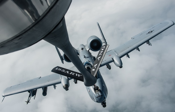 A KC-135 Stratotanker from the 185th Air Refueling Wing, Iowa Air National Guard, refuels an A-10 from the 442nd Fighter Wing, Whiteman Air Force Base, Missouri, during a flying training deployment at Ämari Air Base, Estonia, July 26, 2016. This is the first time personnel and aircraft from the 185th ARW are providing support for an Estonian FTD which allows them to further develop relationships with their NATO allies. (U.S. Air Force photo by Senior Airman Missy Sterling/released)