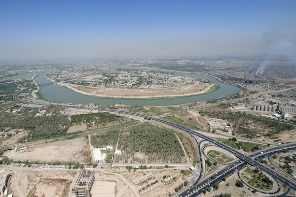 An aerial view of the Tigris River as it flows through Baghdad, July 31st, 2016. (DoD Photo by Navy Petty Officer 2nd Class Dominique A. Pineiro)