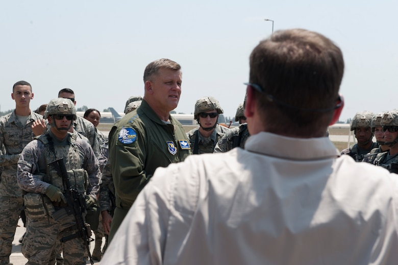 U.S. Air Force Gen. Frank Gorenc, commander, U.S. Air Forces in Europe, U.S. Air Forces Africa, and Allied Air Command, addresses 39th Security Forces Squadron Airmen Aug. 3, 2016, at Incirlik Air Base, Turkey. Gorenc visited Airmen to thank them for their hard work and dedication during his time as USAFE-AFAFRICA commander. (U.S. Air Force photo by Airman 1st Class Devin M. Rumbaugh)