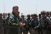 U.S. Air Force Gen. Frank Gorenc, commander, U.S. Air Forces in Europe, U.S. Air Forces Africa, and Allied Air Command, addresses 39th Security Forces Squadron Airmen Aug. 3, 2016, at Incirlik Air Base, Turkey. Gorenc visited Airmen to thank them for their hard work and dedication during his time as USAFE-AFAFRICA commander. During the visit Gorenc also met with NATO Turkish partners. Badges have been blacked out for security. (U.S. Air Force photo by Airman 1st Class Devin M. Rumbaugh)