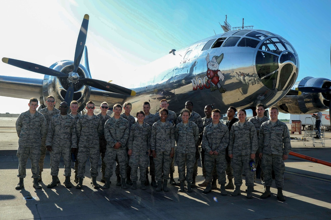 U.S. Air Force Academy cadets from Colorado Springs, Colo., tour a B-29 Stratofortress, Aug. 1, 2016, in Wichita, Kan. The cadets visited McConnell AFB, Kan., and various local institutions as part of Operation Air Force. (U.S. Air Force photo/Airman 1st Class Jenna K. Caldwell)
