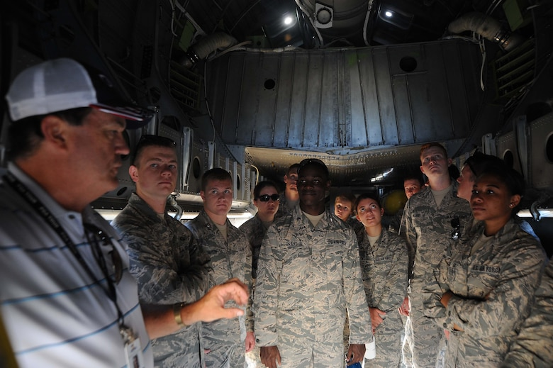 U.S. Air Force Academy cadets from Colorado Springs, Colo., stand inside the belly of a B-29 Stratofortress as they learn about the aircraft, Aug. 1, 2016, in Wichita, Kan. The cadets heading into their junior year participate in Operation Air Force as part of a requirement to shadow officers, enlisted and civilians. (U.S. Air Force photo/Airman 1st Class Jenna K. Caldwell)