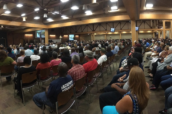 An audience of about 1,000 employees listens as DLA Director Air Force Lt. Gen. Andy Busch gives an update on activities and trends in the agency during the DLA Aviation Town Hall July 29.