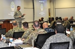 DLA Director Air Force Lt. Gen. Andy Busch addresses students at the Joint Logistics Course, part of the curriculum of the Army Logistics University at Fort Lee, Virginia, July 29.