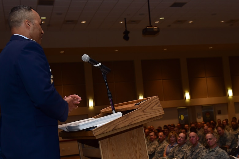 Col. Lorenzo Bradley, 460th Operations Group commander, speaks August 2, 2016, during the OG change of command ceremony at the Leadership Development Center on Buckley Air Force Base, Colo. The ceremony represents a new commander assuming command of the group and its troops. (U.S. Air Force photo by Airman 1st Class Gabrielle Spradling/Released)