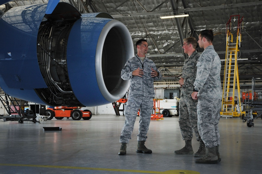 Tech Sgt. Siggy Herrmann of the 89th Airlift Wing, Joint Base Andrews, Md., gives a group of U.S. Air Force Academy cadets a tour of the various aircraft assigned to the 89th Airlift Wing. The cadets were visiting Joint Base Andrews as part of the U.S. Air Force Academy's Operations Air Force program. (Photo by U.S. Air Force Senior Master Sgt. Adrian Cadiz)(Released)