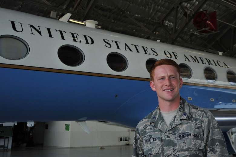 A U.S. Air Force Academy second class cadet tours ta gulfstream aircraft assigned to the 89th Airlift Wing at Joint Base Andrews, Md., as part of the U.S. Air Force Academy's Operations Air Force program. (Photo by U.S. Air Force Senior Master Sgt. Adrian Cadiz)