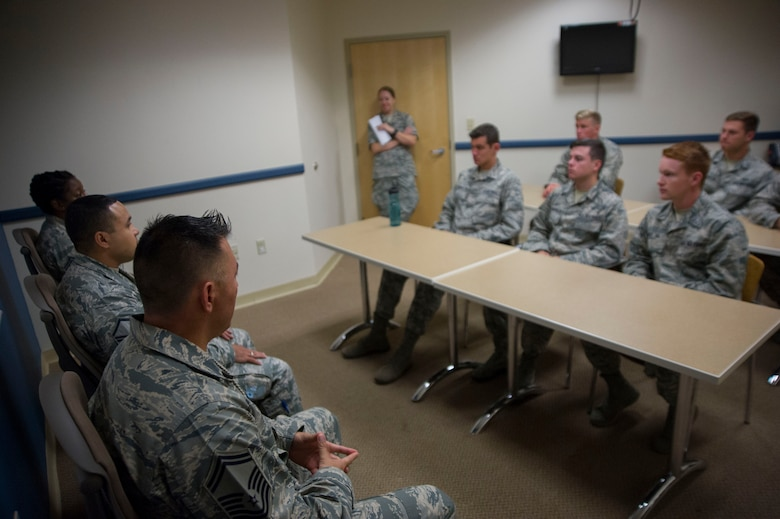 A group of U.S. Air Force Academy cadets speak with a panel of senior non- commissioned officers on Joint Base Andrews, Md., as part of the U.S. Air Force Academy's Operations Air Force program. (Photo by U.S. Air Force Senior Master Sgt. Adrian Cadiz)