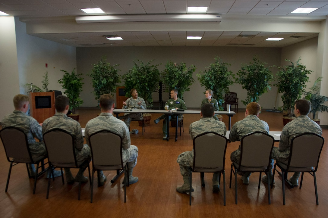 A group of U.S. Air Force Academy cadets listen and speak with a panel of senior leaders on Joint Base Andrews, Md., as part of the U.S. Air Force Academy's Operations Air Force program. (Photo by U.S. Air Force Senior Master Sgt. Adrian Cadiz)