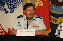 NORAD Deputy Commander, Lt.-Gen Pierre St-Amand, speaks at the U.S. Strategic Command Deterrence Symposium panel July 27, 2016, in Omaha, NE. The symposium drew from academic, government, military and international experts to explore a broad range of deterrence issues and thinking during a single event.