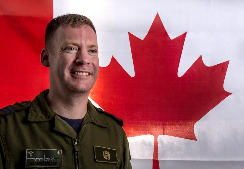 Capt. Damien Miller, 375th Aeromedical Evacuation Sqaudron flight nurse, is part of the Canadian Air Force and is stationed at Scott Air Force Base, Illinois. Miller is at Scott AFB as part of the officer exhange program he learned about during an AE course run by the Canadian Armed Forces. (U.S. Photo Illustration by Airman Daniel Garcia)