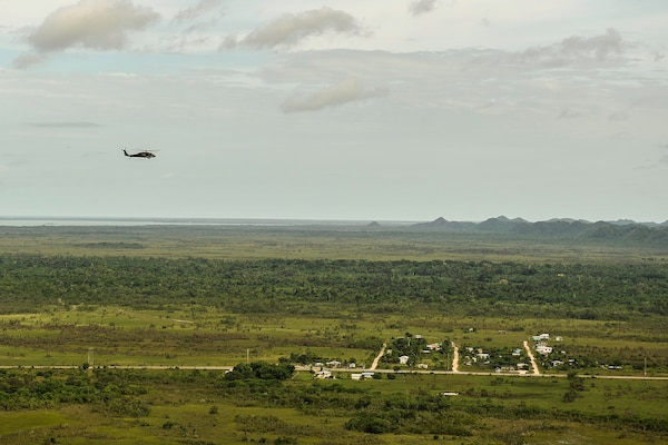 A UH-60 Black Hawk assigned to Joint Task Force-Bravo's 1st Battalion, 228th Aviation Regiment flies over Belize District during training July 20, 2016. The 1-228th AVN conducts aviation operations in support of partner nation counter-transnational organized crime training throughout the U.S. Southern Command area of responsibility. (U.S. Air Force photo by Staff Sgt. Siuta B. Ika)
