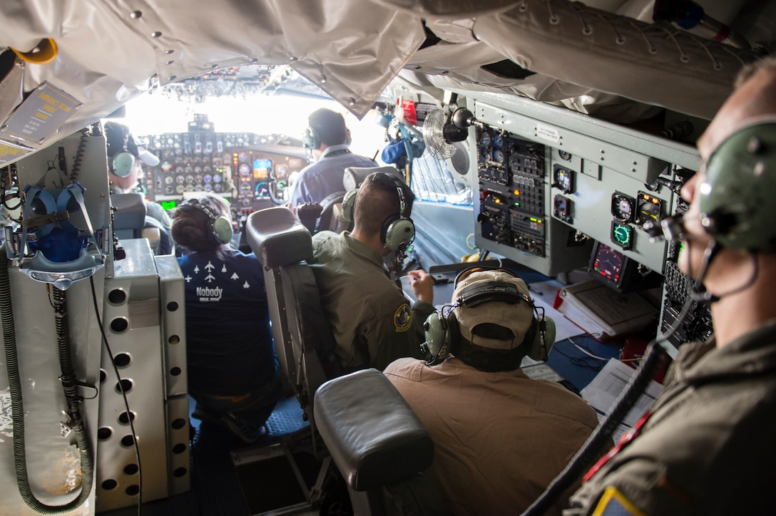 Testers pack into a KC-135 Stratotanker's cockpit to conduct ground testing of Traffic Collision Avoidance System version 7.1. last month. The Air Force's KC-135 fleet will need the upgraded TCAS in order to fly over Europe beginning Jan. 1, 2017. (U.S. Air Force photo by Chris Higgins)