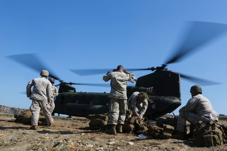 Marines with 3rd Battalion, 1st Marine Regiment stand by as they wait to load into the Royal Canadian Air Force's CH-147F Chinook during training exercise aboard Marine Corps Base Camp Pendleton, Calif., July 28. Marine Heavy Helicopter Squadron (HMH) 462, along with the Royal Canadian Air Force supported 3rd Battalion, 1st Marine Regiment during Rim of the Pacific (RIMPAC) 2016. (U.S. Marine Corps photo by Lance Cpl. Harley Robinson/Released)