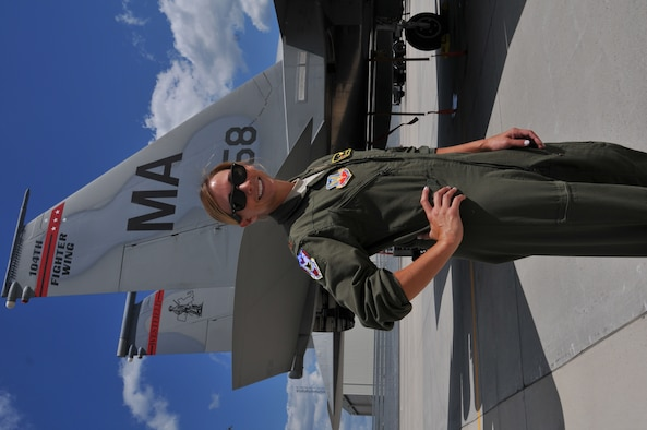 "Maj. Ashley Rolfe is the first female fighter pilot for the Air National Guard's 104th Fighter Wing. Rolfe is an Air Force Academy graduate and combat veteran who has served in the Air Force for eleven years. Rolfe became an Air Force pilot after growing up as an Air Force ""Brat"" dependent, following her dad and grandad's footsteps carrying on the family legacy. Rolfe's swearing in ceremony took place at Barnes Air National Guard Base, July 26, 2016. (U.S. Air National Guard Photo by Master Sgt. Julie Avey)"