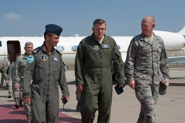 U.S. Air Force Gen. Frank Gorenc, commander, U.S. Air Forces in Europe, U.S. Air Forces Africa, and Allied Air Command, is greeted by Col. John Walker (right) and Turkish Air Force Brig. Gen. Ismail Günaydin, 10th Tanker Command commander, Aug. 3, 2016, at Incirlik Air Base, Turkey. Gorenc visited Airmen to thank them for their hard work and dedication during his time as USAFE-AFAFRICA commander. During the visit Gorenc also met with NATO Turkish partners. (U.S. Air Force photo by Airman 1st Class Devin M. Rumbaugh)
