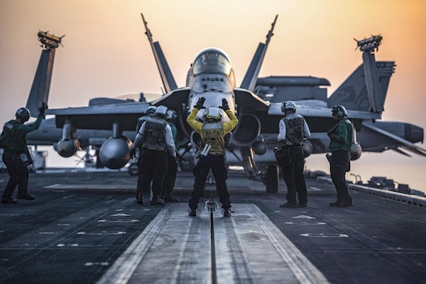 160731-N-OR652-368  ARABIAN GULF (July 31, 2016) – An F/A-18C Hornet assigned to the Wildcats of Strike Fighter Squadron (VFA) 131 taxis onto the catapult on the flight deck of the aircraft carrier USS Dwight D. Eisenhower (CVN 69) (Ike). Ike and its Carrier Strike Group are deployed in support of Operation Inherent Resolve, maritime security operations and theater security cooperation efforts in the U.S. 5th Fleet area of operations. (U.S. Navy photo by Mass Communication Specialist 3rd Class J. Alexander Delgado/Released)