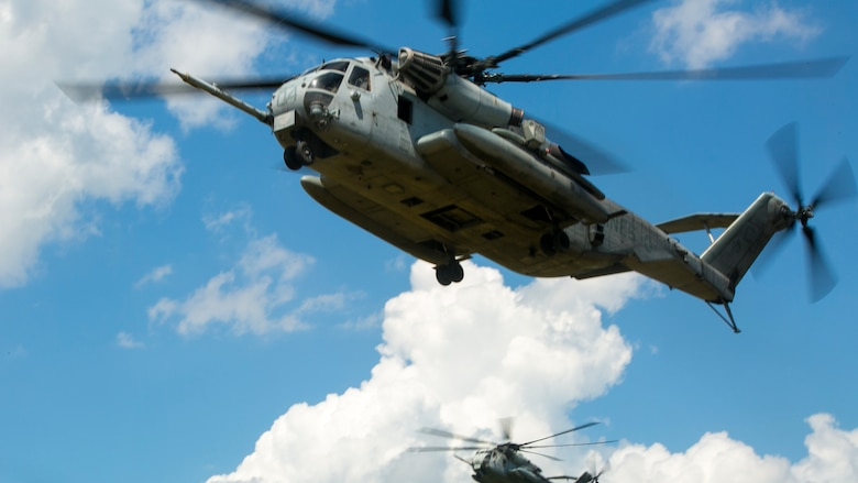 Two CH-53E Super Stallions with Marine Heavy Helicopter Squadron 461 prepare to land at Marine Corps Air Station New River, N.C., July 28, 2016 The CH-53E Super Stallion is the largest helicopter in the United States military, and able to carry a 26,000-pound Light Armored Vehicle, 16 tons of cargo, or enough combat-loaded Marines to lead an assault or humanitarian operation. The capabilities provided by the CH-53E strengthen the expeditionary capabilities of Marines Corps units and make this aircraft one of the most useful in the Marine Corps. HMH-461 is part of Marine Aircraft Group 29, 2nd Marine Aircraft Wing.