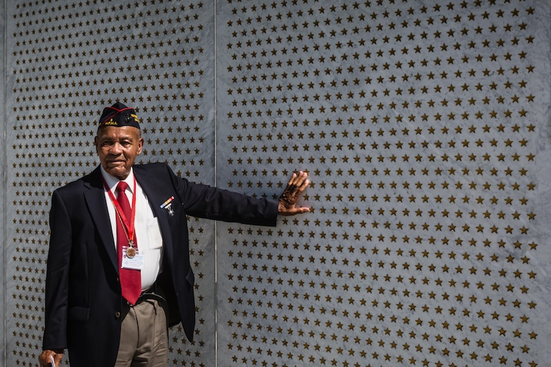 Rev. Wortham B. Fears with the Los Angeles Chapter of the Montford Point Marine Association pauses to remember his fellow Montford Point Marines who were unable to attend the Montford Point Marine Memorial Dedication at Marine Corps Base Camp Lejeune July 29. Hundreds of attendees, including Montford Point Marines, family members, active duty servicemembers and supporters, gathered to attend the memorial dedication which honored the 20,000 segregated African-American Marines who trained there in the 1940s. (U.S. Marine Corps photo by Lance Cpl. Sean J. Berry/Released)