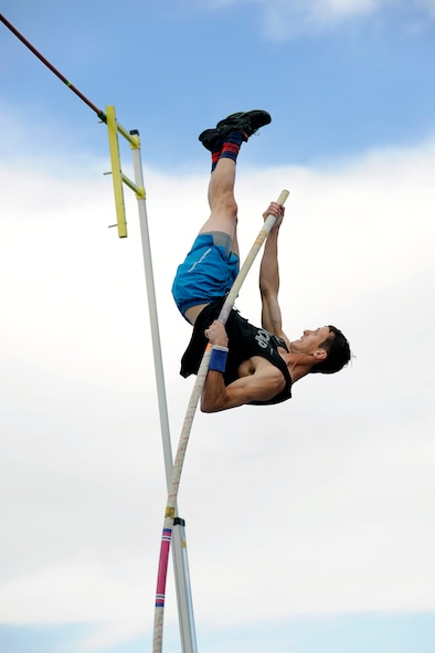First Lt. Cale Simmons, an Air Force contracting officer and 2013 USAFA grad, is heading to the Olympics in Rio de Janeiro to compete in the pole vault event. Check out the event Aug. 13 and 15. (U.S. Air Force photo by Mike Kaplan)