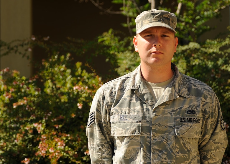 Staff Sgt. Daniel Hill, 9th Civil Engineer Squadron Airman Dormitory Leader, poses for a photo August 3, 2016, at Beale Air Force Base, California. (U.S. Air Force photo by Airman Tristan D. Viglianco)