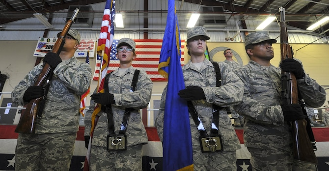 Air Commandos from the Hurlburt Field Honor Guard prepare to post the American flag during a re-designation ceremony at Hurlburt Field, Fla., Aug. 1, 2016. The Honor Guard performed ceremonial duties at the ceremony during which the 11th Intelligence Squadron was re-designated as the 11th Special Operations Intelligence Squadron. (U.S. Air Force photo by Airman Dennis Spain)