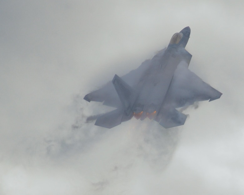 An F-22 Raptor from the 43rd Fighter Squadron, performs a vertical takeoff during Sentry Savannah 16-3 in Savannah, Ga., Aug. 2, 2016. The F-22 is a key component of air dominance, and during Sentry Savannah, they contributed to a variety of missions, such as escort and defensive counter-air missions, among others. (U.S. Air Force photo by Senior Airman Solomon Cook/Released)