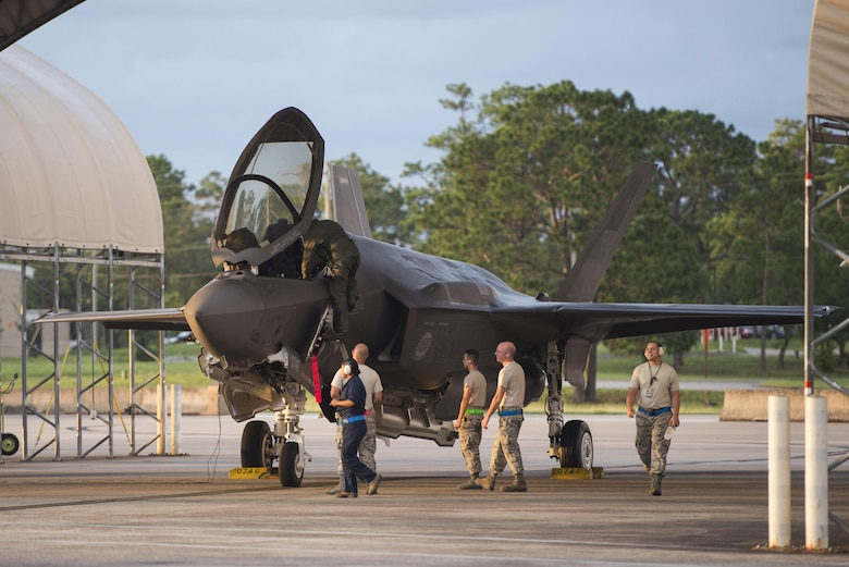 Airmen from the 33rd Aircraft Maintenance Squadron and 58th Aircraft Maintenance Unit ready an F-35A for takeoff during a sortie surge Aug. 2, 2016, at Eglin Air Force Base, Fla. The 33rd Fighter Wing completed 111 sorties during a three-day surge to exercise the readiness of pilots, maintainers and aircraft to meet the needs of high-tempo operations. (U.S. Air Force photo by Senior Airman Stormy Archer)