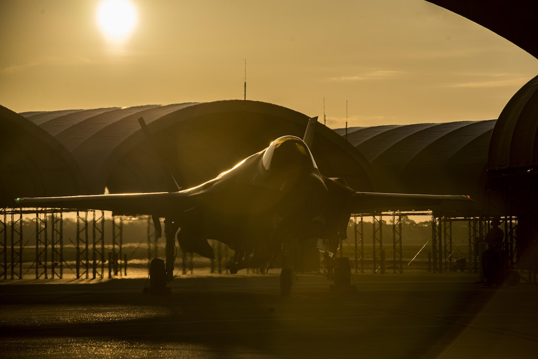 The sun rises behind an F-35A Aug. 2, 2016, at Eglin Air Force Base, Fla. The F-35A is the latest deployable fifth generation aircraft capable of providing air superiority, interdiction, suppression of enemy air defenses and close air support as well as great command and control functions through fused sensors, and will provide pilots with unprecedented situational awareness of the battle space. (U.S. Air Force photo by Senior Airman Stormy Archer)