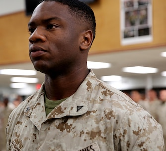 Sandre E. Flournoy with Chemical Biological Incident Force, CBIRF, was pinned to the rank of lance corporal during a promotion ceremony at Naval Support Facility at Indian Head, Md. August 1, 2016. Flournoy works as a logistic embarkation specialist for the S4 shop at CBIRF. (Official USMC photo by Lance Cpl. Maverick Mejia)