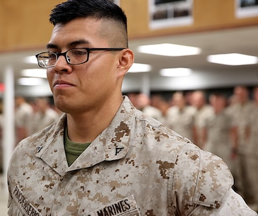 Gerardo R. Paicoeusebio with Chemical Biological Incident Force, CBIRF, was pinned to the rank of lance corporal during a promotion ceremony at Naval Support Facility at Indian Head, Md. August 1, 2016. Paicoeusebio works as an electrician for the S4 shop at CBIRF (Official USMC photo by Lance Cpl. Maverick Mejia)