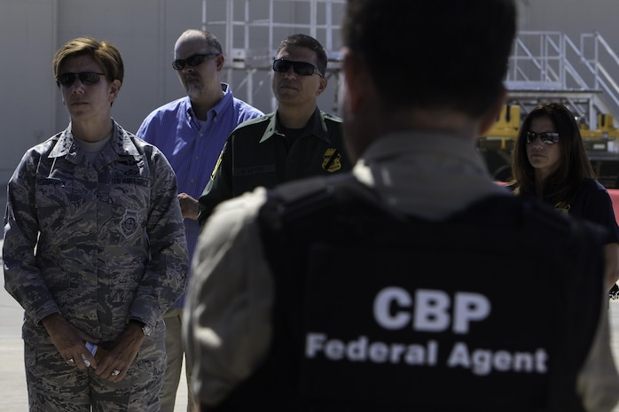 Gen. Lori Robinson (left), Commander of NORAD and USNORTHCOM, meets with members of the Customs and Border Protection with Joint Task Force - West in Tucson, Arizona, July 21, 2016.  Gen. Robinson was briefed on the mission and challenges on the U.S. border. She also toured the U.S. southern border via helicopter. NORTHCOM is a mission partner with the CBP.  Joint Task Force – West (JTF-W) is part of the Department of Homeland Security's Southern Border and Approaches Campaign Plan. This joint task force structure focuses cross-departmental and integrated counter-network operations on strategic objectives across four geographical corridors. Area networks within the JTF-W Joint Operating Area include supporting components, Department of Defense Commands, International, State, Local, and Tribal entities.  JTF-W efforts are designed to extend the border and institutionalize an asymmetric operational agility, effectiveness, and impact against targeted Transnational Criminal Organization (TCO) networks.