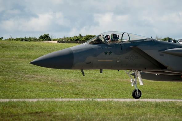 A 44th Fighter Squadron F-15 Eagle taxis on the flight line July 27, 2016, at Kadena Air Base, Japan. Pilots bear the responsibility of defending Okinawa and Japan from adversaries seeking to harm U.S. and allied partners within the Indo-Asian Pacific theater. (U.S. Air Force photo by Senior Airman Peter Reft)