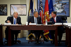 President Barack Obama, center, Vice President Joe Biden, left, and Defense Secretary Ash Carter greet each other during a meeting of the National Security Council at the Pentagon, Aug. 4, 2016, to discuss the campaign against the Islamic State of Iraq and the Levant. DoD photo by Air Force Tech. Sgt. Brigitte N. Brantley
