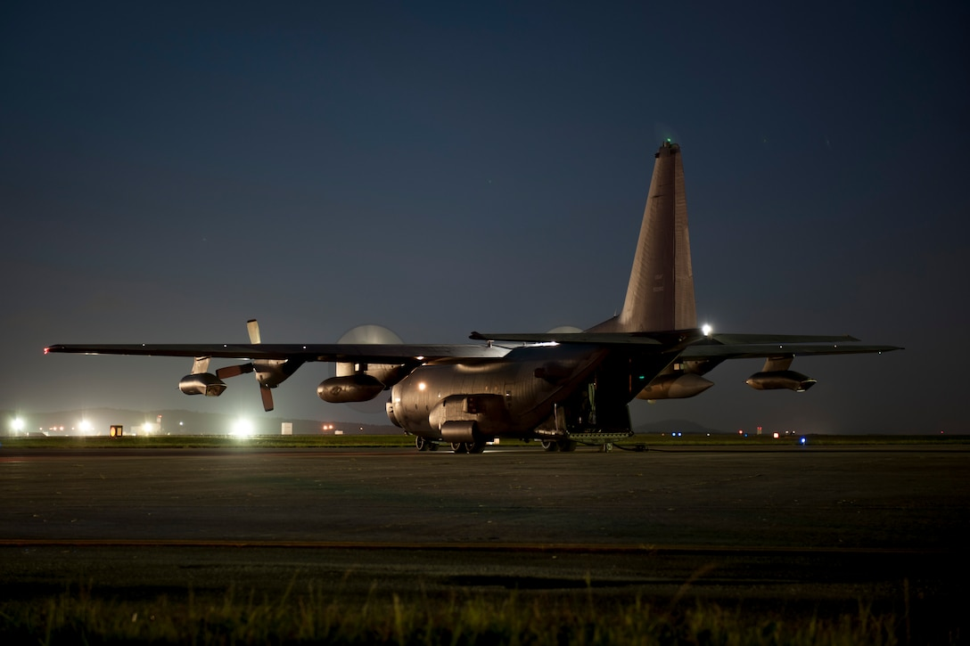 An MC-130H Combat Talon II idles on the flight line July 27, 2016, at Kadena Air Base, Japan. The 1st Special Operations Squadron conducted a night-time hot refueling exercise with the 18th Logistics Readiness Squadron to demonstrate forward-area refueling point capability. (U.S. Air Force photo by Senior Airman Peter Reft)