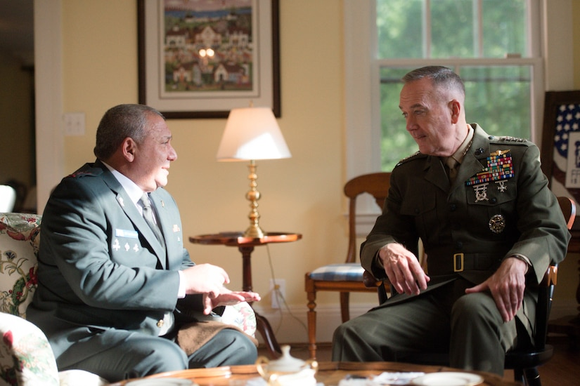Marine Corps Gen. Joe Dunford, chairman of the Joint Chiefs of Staff, hosts his counterpart Israeli Lt. Gen. Gadi Eizenkot, the commander in chief of the Israel Defense Forces in Washington D.C., Aug. 4, 2016.  DoD Photo by Navy Petty Officer 2nd Class Dominique A. Pineiro