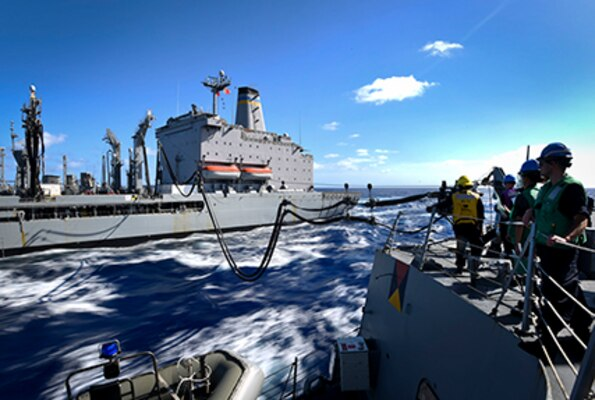 PACIFIC OCEAN (July 29, 2016) – Sailors assigned to the Arleigh Burke-class guided-missile destroyer USS Shoup (DDG 86) conduct an underway replenishment with the Military Sealift Command fleet replenishment oiler USNS Rappahannock (T-AO 204), during Rim of the Pacific 2016. Twenty-six nations, more than 40 ships and submarines, more than 200 aircraft and 25,000 personnel are participating in RIMPAC from June 30 to Aug. 4, in and around the Hawaiian Islands and Southern California.  The world's largest international maritime exercise, RIMPAC provides a unique training opportunity that helps participants foster and sustain the cooperative relationships that are critical to ensuring the safety of sea lanes and security on the world's oceans. RIMPAC 2016 is the 25th exercise in the series that began in 1971.