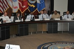 DLA and USTRANSCOM leaders discuss opportunities for future collaboration during USTRANSCOM/DLA Day Aug. 3 at the McNamara Headquarters Complex.