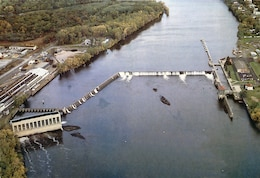 Aerial of the Troy Lock and Dam in Troy, New York.