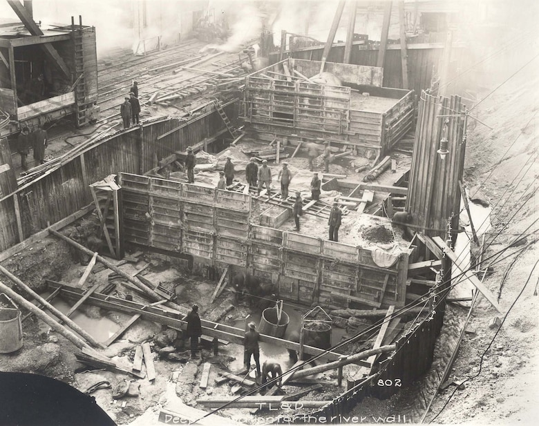 Historic image of the Troy Lock and Dam being constructed a century ago.