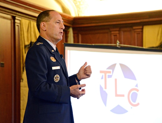 Air Force Sustainment Center Commander Lt. Gen. Lee Levy II spoke to military and community leaders and Oklahoma City Chamber members at the Tinker Leadership Community Luncheon July 22 at the Skirvin Hotel in Oklahoma City.