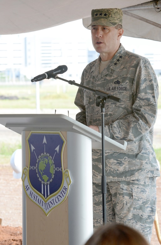 Air Force Sustainment Center Commander Lt. Gen. Lee K. Levy II addresses the crowd at the KC-46A Sustainment Campus groundbreaking ceremony July 26. (Air Force photo by Kelly White)