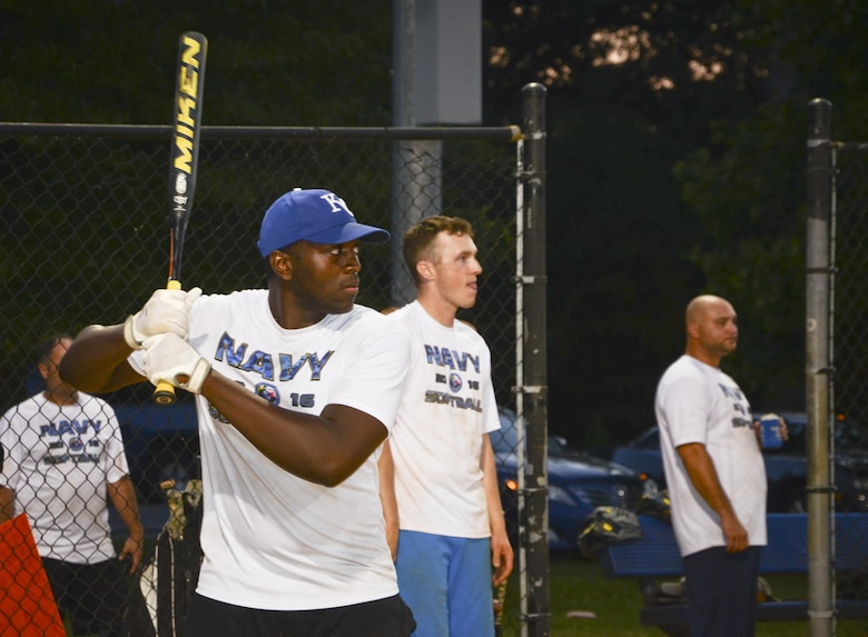 A Navy Information Operations Command waits for a pitch during the Game 2 Division ONE Intramural Softball Championship game against the 34th Intelligence Squadron, August 3, 2016 at Fort Meade, Md. The 34th IS went on to win the Championship by a score of 31 to 25. (U.S. Air Force photo/Staff Sgt. AJ Hyatt)