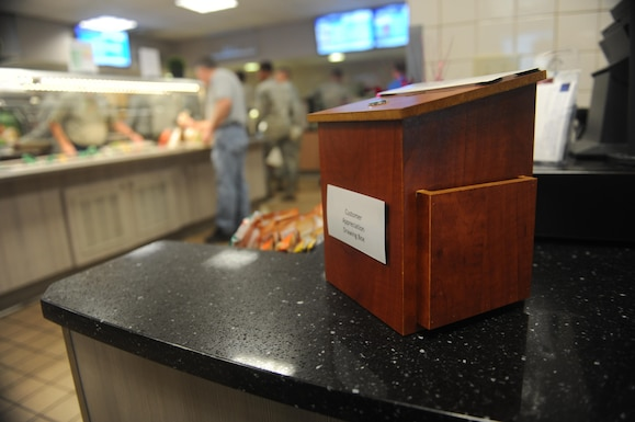 The drawing box for the customer appreciation program at the Longhorn Dining Facility is available at the register counter. The prizes included for each monthly drawing will include a variety of gift cards to establishments around Dyess and Abilene. (U.S. Air Force photo by Airman 1st Class Rebecca Van Syoc)