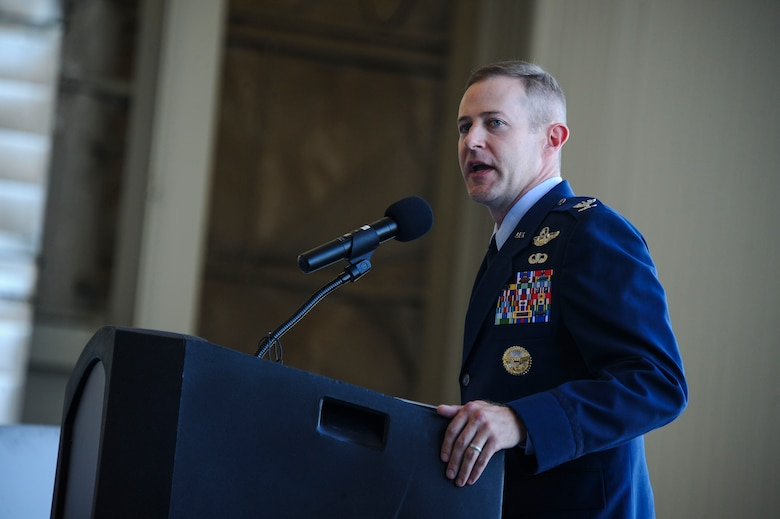 U.S. Air Force Col. Scott Campbell makes his first remarks after assuming command of the 355th Fighter Wing during a change of command ceremony at Davis-Monthan Air Force Base, Ariz., Aug. 5, 2016. Campbell is a command pilot with more than 3,200 hours in the T-34, T-38, A-10 and MQ-9. (U.S. Air Force photo by Airman 1st Class Mya M. Crosby)