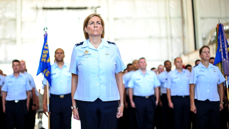 U.S. Air Force Col. Jennifer Short, 355th Fighter Wing vice commander, stands at the head of a formation of Airmen from the 355th FW during a change of command ceremony at Davis-Monthan Air Force Base, Ariz., Aug. 5, 2016. During the ceremony, Col. Scott Campbell assumed command of the 355th FW from Col. James Meger. (U.S. Air Force photo by Airman Nathan H. Barbour)